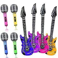 Idea Regalo - Yojoloin 8PCS Gonfiabili Chitarra Microfono Palloncini Strumenti Musicali Accessori per Feste Forniture per Feste Palloncini Colore Casuale (8 Pezzi)