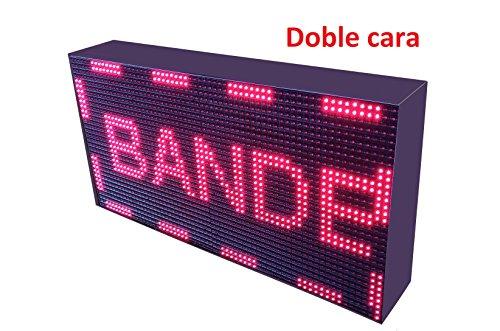 Schild LED programmierbar mit Sensor Temperatur- und Text-Uhr/Programmierbar Schild/Display programmierbar/Display/Programmierbare LED Leuchtreklame/Elektronische Uhr/Wimpelkette 64x32 doble cara - Uhr Leuchtreklame