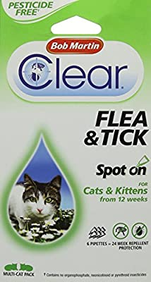 Bob Martin Clear 12 Weeks Repellent Protection Flea and Tick Spot for Cats