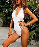 Hoverwin Mujer Bikini Traje de Baño de Una Pieza Push Up Bodysuit Monokini Trikini Ropa de Baño (S, Blanco)