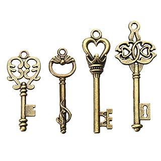 Generic 4Pcs Vintage Bronze Key for Pendant Necklace Bracelet DIY Handmade Accessories Decoration