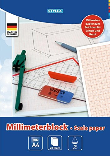 STYLEX 29330 Millimeterblock, holzfrei, DIN A4, 20 Blatt