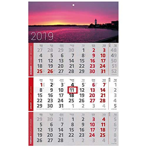 5 Stück Motiv Leuchtturm 3 Monats Wandkalender 2019 Kalender Officekalender Bürokalender Wandplaner