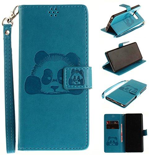 Ooboom® iPhone X Custodia Rilievo Panda Magnetica Flip in Pelle PU Cuoio Libro Copertura Case Cover Portafoglio Supporto per iPhone X - Rosso Blu