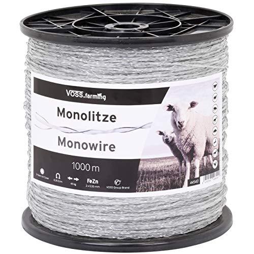 VOSS.farming 1000m Monolitze Polydraht transparent, Weidezaun, Litze, Elektrozaun, für Lange und schwierige Einzäunungen, Schaf, Rind, Ziege