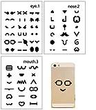NOVAGO® 3 planches (yeux + nez + bouche) de stickers autocollants , série Making emoticons pour décorer vos smartphones, tablettes , PC, MacBook ou autres objets , combinaison et imagination à votre guise