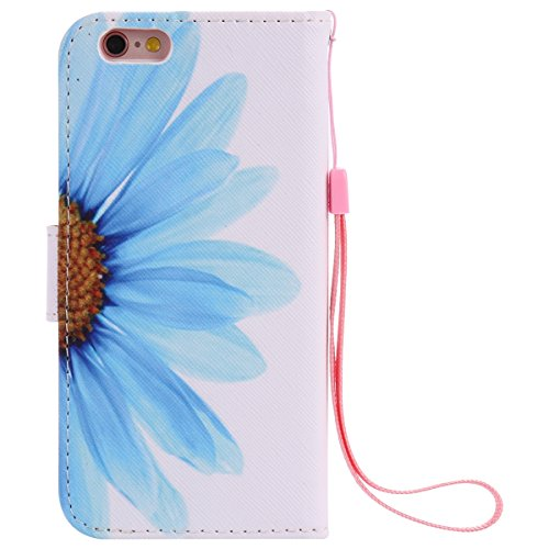 iPhone 6 Hülle,iPhone 6S Case - Felfy Flip Bookstyle Wallet Luxe Handyhülle Retro Painted Niedlich Farbe Muster Premium Slim PU Leather Stand Wallet Flip Lederhülle Case Cover Pouch Shell Soft mit TPU Sonnenblume Cas