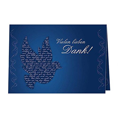 5 Danksagungskarten mit passenden Umschlägen, Danksagungskarten zur Kommunion Konfirmation Firmung, Klappkarten im Set zu 5 Stk.