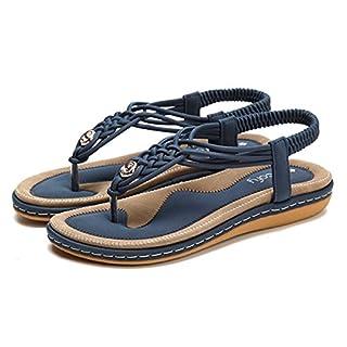 Socofy Damen Sandalen, Flip Flops Böhmische Sommer Sandals Pantoffel Flach Zehentrenner T-Strap Offene Strand Schuhe Classic Clog