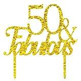 Innoru, Decorazione per torta con scritta '50 & Fabulous', per 50° compleanno, 50 anni di matrimonio, accessorio per feste e anniversari (dorato con glitter)
