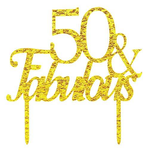 s Kuchendekoration Happy 50th Birthday 50Jahre Hochzeit Jahrestag Feiern Party Supplies (Gold Glitter) ()