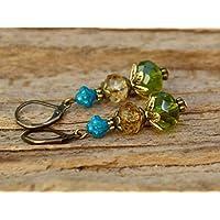 Vintage Ohrringe mit Glasperlen - grün, braun, azur & bronze