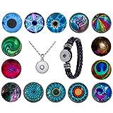 Morella Damen Click-Button Set starker Farbenrausch 14 Druckknöpfe mit Halskette Edelstahl 70 cm und Armband