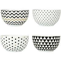Ostaria Nina Juego de Cuatro Cuencos, Porcelana, Blanco, Negro y Dorado, 9x9x5.5 cm, 4 Unidades