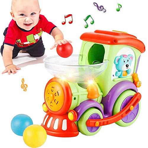 LUKAT Bébé Voiture de Jouet Enfants Train Jouet Musique Jouet Voiture de Jouet pour bébé avec 3 balles de Chasse lumière Parler précoce Jouet éducatif Musique Locomotive pour Bambin