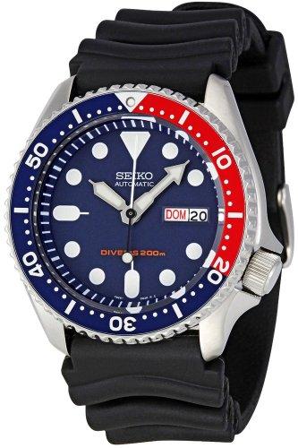 Seiko - SKX009K1-5 Sports Diver's - Montre Homme - Automatique Analogique - Cadran Bleu - Bracelet Caoutchouc Noir
