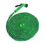MCTECH® Flexibler Gartenschlauch raktisch Dehnbarer Wasserschlauch 30m ausgedehnt mit Brause für Haus und Garten zur Gartenbewässerung Rasenbewässerung (30m, Grün)