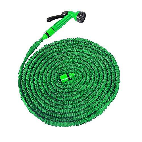 MCTECH® Flexibler Gartenschlauch raktisch Dehnbarer Wasserschlauch 15m ausgedehnt mit Brause für Haus und Garten zur Gartenbewässerung Rasenbewässerung (15m, Grün)