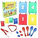 Conjunto de 4 juegos al aire libre - Carrera de sacos, la carrera de relevos de 3 piernas, la carrera de huevos con cucharas, lanzamiento de bolsas de frijoles - Deportes exterior para cumpleaños.