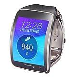 kingko Fitness tracker armband Edelstahl Metall Uhrenarmband Handgelenk Bügel Armband für Samsung Gear S SM-R750 (Schwarz)