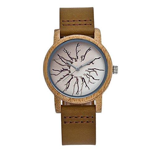 EATHGL Creativo stampato unisex orologio cinturino in pelle genuino unisex orologio al quarzo impermeabile raffinato regalo squisito Orologi da polso casual