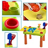 Enlarge toy image: deAO Sand and Water Play Table for Kids Outdoor Activity Table Double Compartment and Lids Including Accessories