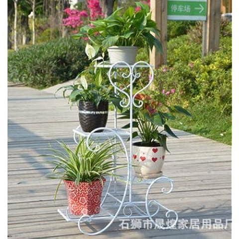 Ferro battuto ferro continentale appariscente Floor-Standing multistrato Flower Stand balcone esterno Vaso da giardino (Stand Livello Ferro Battuto Impianti)