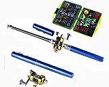 hengjia Teleskop Pen Angelrute und Reel Combo Full Kit-Baitcast-Rolle Gear Pole Set, blau