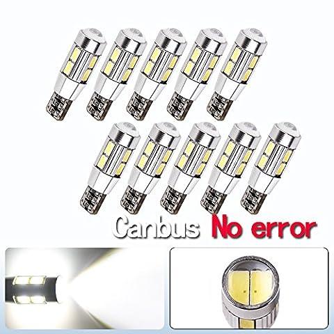 S & D 10x T10W5W 10SMD Canbus sans Message d'erreur LED Blubs Stop Lumière dc-12V Rouge