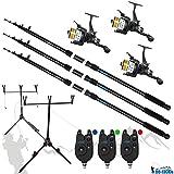 DD-Tackle Kit de pêche complet- 3cannes à carpe de 3,60m, 3moulinets à carpe, 3détecteurs et trépied