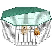 Gran Playpen Jaula de Jardín para perros y cachorros desplegable para interiores/exteriores y cubierta
