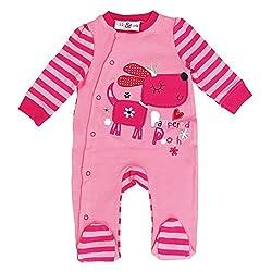 Cute Baby Girls Super Soft Super Cotton Romper Babygrow Dog Pooch Design in Pink