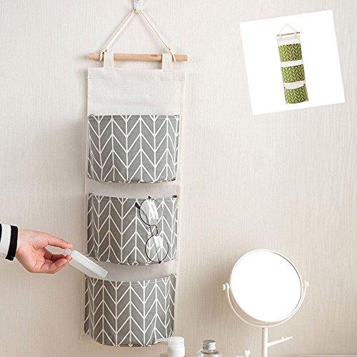 Hängenden COLORFUL 3 Grids Wandbehang Aufbewahrungstasche Organizer Spielzeug Container Dekor Tasche (Grau) ()