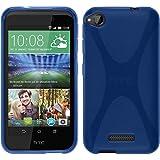 PhoneNatic Case für HTC Desire 320 Hülle Silikon blau, X-Style + 2 Schutzfolien