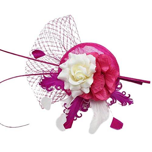 Diademas Mini Venda Sombrero Malla Velo Pluma Adorno de Cabeza Flor Decoración Boda Fiesta - Rosa roja