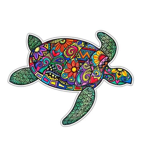 MeganJDesigns Autoaufkleber Meeresschildkröte, buntes Hippie-Design, Vinyl, für Stoßstange Auto Vinyl-aufkleber Bunt