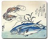 1art1 93193 Utagawa Hiroshige - Makrelen und Garnelen, 1834-35 Mauspad 23 x 19 cm