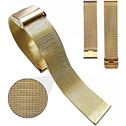 Mallom® Stylish Stainless Steel Watch Band 24mm Watch Strap Gold