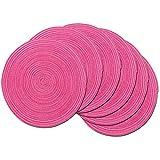 SHACOS Rund Baumwolle Platzsets Set von 6,Tischsets Abwaschbar Verschleißfest Hitzebeständig ,geflochtene Platzdeckchen,Ideal für Küche,Dekoration,Hochzeit,Urlaubsparty-Pink