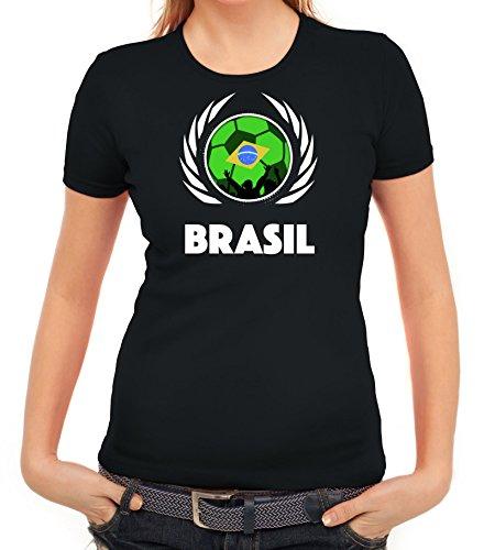 ShirtStreet Brasil Wappen Soccer Fussball WM Fanfest Gruppen Fan Wappen Damen T-Shirt Fußball Brasilien Schwarz