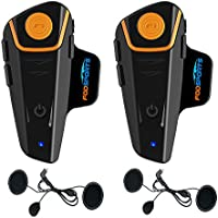 Fodsports Bluetooth Motorrad Gegensprechanlage Motorradhelm Kommunikation Walkie-Talkie Intercom Headset mit 1000m, GPS, FM Radio, MP3 Player (2 Pack with Soft Cable)
