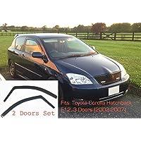 AC WOW 2X Toyota Corolla E12 Hatchback 2002-2007 3 Puertas Deflectores de Viento Oscuro