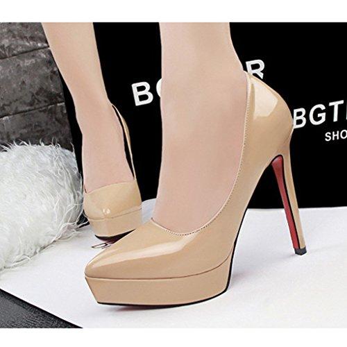 Minetom Donna Scarpe Elegante Scarpe Con Plateau Tacco A Spillo Scivolare Su Vernice Scarpe Col Tacco Alto Calzature Albicocca