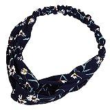 Qinlee Elastische Stirnband Blumen Muster Haar Accessoires Mädchen Haarband Modegeschenk Sport Haar Band Frisuren Haar Accessoires (Blau)