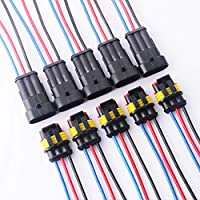 TOOHUI 5 juegos 3 Pin Way Car AMP Conector eléctrico con Conector del cable del cable Mujer Hombre Impermeable Automóvil, 18 AWG Marine