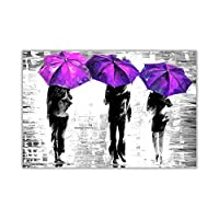 Black and White Three Umbrellas By Leonid Afremov Oil Painting Re-Print Poster Prints Wall Art