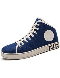 Yajie-shoes Zapato de la Manera de los Hombres Zapatos de Ocio de tacón Plano con Cordones (Color : Azul,…