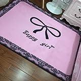 WXDD Feuchten Teppich Schlafzimmer, Bett, süße Mädchen Herz Prinzessin Rosa Garderobe Foto home Kind Matte, 120 * 160 cm, Pink ist ein glückliches Mädchen
