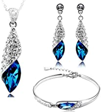 YouBella Jewellery Sets for Women Combo of Stylish Crystal Fancy Party Wear Necklace Set with Earrings and Bracelet for Girls and Women