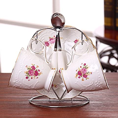 Fuf.Mcl English Tea Rose Cup Goffrato Tazzina Da Caffè In Ceramica Continentale Tazza Da Caffè , 2 2 Tazza Goffrato Disco 2 Cucchiai Di - Goffrato Disc